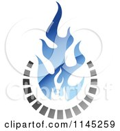 Clipart Of A Stove Burner With Blue Gas Flames 2 Royalty Free Vector Illustration