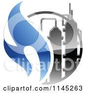 Clipart Of A Gas Refinery With Blue Flames 2 Royalty Free Vector Illustration