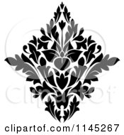 Clipart Of A Black And White Damask Design 1 Royalty Free Vector Illustration