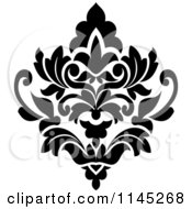 Clipart Of A Black And White Damask Design 3 Royalty Free Vector Illustration