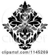Clipart Of A Black And White Damask Design 4 Royalty Free Vector Illustration