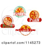 Clipart Of Pizza Pie Logos 2 Royalty Free Vector Illustration