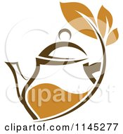Clipart Of A Brown Tea Pitcher With Leaves Royalty Free Vector Illustration