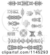 Clipart Of Grayscale Celtic Design Elements 2 Royalty Free Vector Illustration