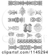 Clipart Of Grayscale Celtic Design Elements 1 Royalty Free Vector Illustration