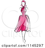 Clipart Of A Fashion Model In A Pink Dress 2 Royalty Free Vector Illustration