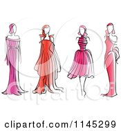 Clipart Of Fashion Models In Pink And Red Dresses Royalty Free Vector Illustration