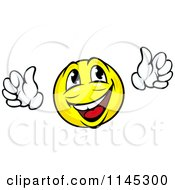 Clipart Of A Happy Emoticon Cheering Royalty Free Vector Illustration by Vector Tradition SM