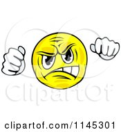Clipart Of A Mad Emoticon Holding Up Fists Royalty Free Vector Illustration