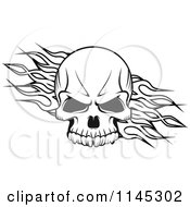 Clipart Of A Black And White Skull Over Tribal Flames Royalty Free Vector Illustration by Seamartini Graphics