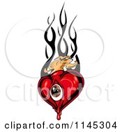 Clipart Of A Red Eye Heart With Orange And Tribal Flames Royalty Free Vector Illustration