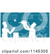Clipart Of Teal And White Silhouetted Chefs Working In A Kitchen Royalty Free Vector Illustration