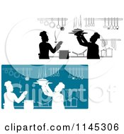 Clipart Of Silhouetted Chefs Working In A Kitchen Royalty Free Vector Illustration