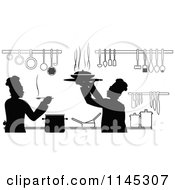 Clipart Of Black And White Silhouetted Chefs Working In A Kitchen Royalty Free Vector Illustration by Vector Tradition SM