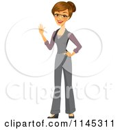 Cartoon Of A Happy Brunette Businesswoman Waving Royalty Free Vector Clipart by Amanda Kate