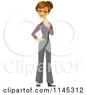 Cartoon Of A Happy Brunette Businesswoman Thinking Royalty Free Vector Clipart by Amanda Kate #COLLC1145312-0177