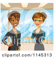 Cartoon Of Happy Businesswomen Talking In An Office Royalty Free Vector Clipart by Amanda Kate #COLLC1145313-0177