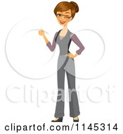 Happy Brunette Businesswoman Winking And Holding A Thumb Up by Amanda Kate
