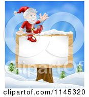 Cartoon Of Santa Waving And Sitting On A Winter Sign Post Royalty Free Vector Clipart