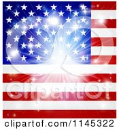 Clipart Of A Bright Burst Over An American Flag Royalty Free Vector Illustration