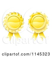 Clipart Of Two 3d Golden Medal Rosette Awards Royalty Free Vector Illustration by AtStockIllustration