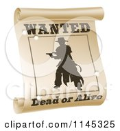 Silhouetted Outlaw On A Wanted Dead Or Alive Poster With Bullet Holes