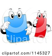 Cartoon Of Sticky Note Mascots Royalty Free Vector Clipart
