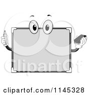 Cartoon Of A White Board Mascot Holding A Marker Royalty Free Vector Clipart