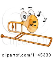 Cartoon Of A Trombone Mascot With Music Notes Royalty Free Vector Clipart by BNP Design Studio
