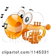 Cartoon Of A Trumpet Mascot With Music Notes Royalty Free Vector Clipart by BNP Design Studio