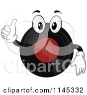 Cartoon Of A Vinyl Record Mascot Holding A Thumb Up Royalty Free Vector Clipart by BNP Design Studio