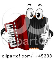 Cartoon Of A Musical Accordion Mascot Playing Itself Royalty Free Vector Clipart