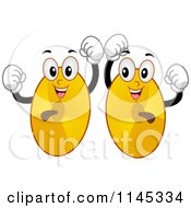 Cartoon Of Dancing Cymbal Mascots Royalty Free Vector Clipart