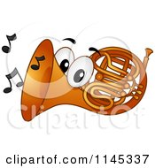Cartoon Of A Horn Mascot With Music Notes Royalty Free Vector Clipart by BNP Design Studio