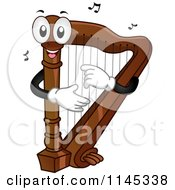 Cartoon Of A Harp Mascot With Music Notes Royalty Free Vector Clipart by BNP Design Studio