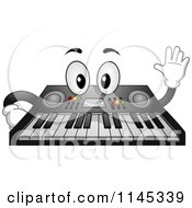 Cartoon Of A Waving Music Keyboard Mascot Royalty Free Vector Clipart