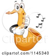 Cartoon Of A Saxophone Mascot With Music Notes Royalty Free Vector Clipart
