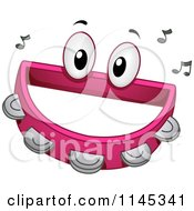 Cartoon Of A Tambourine Mascot With Music Notes Royalty Free Vector Clipart