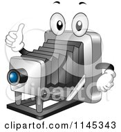 Cartoon Of A Vintage Plate Camera Mascot Holding A Thumb Up Royalty Free Vector Clipart