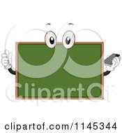 Cartoon Of A Chalkboard Mascot Holding Chalk And An Eraser Royalty Free Vector Clipart