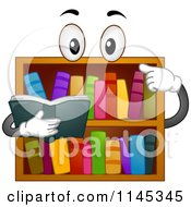 Cartoon Of A Book Shelf Mascot Reading Royalty Free Vector Clipart