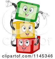 Cartoon Of Happy Building Block Mascots Stacking Royalty Free Vector Clipart