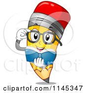 Cartoon Of A Reading Pencil Mascot Royalty Free Vector Clipart by BNP Design Studio