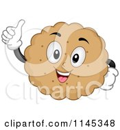 Cartoon Of A Biscuit Cookie Mascot Holding A Thumb Up Royalty Free Vector Clipart