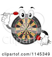 Cartoon Of A Dart Board Mascot Holding A Dart Royalty Free Vector Clipart