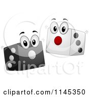 Cartoon Of Black And White Dice Mascots Royalty Free Vector Clipart