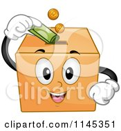 Donation Box Mascot Inserting Money