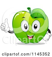 Cartoon Of A Green Apple Mascot Holding A Thumb Up Royalty Free Vector Clipart