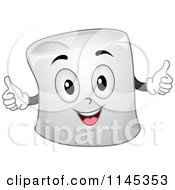 Marshmallow Mascot Holding Two Thumbs Up