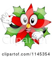 Cartoon Of A Christmas Poinsettia Mascot Waving Royalty Free Vector Clipart